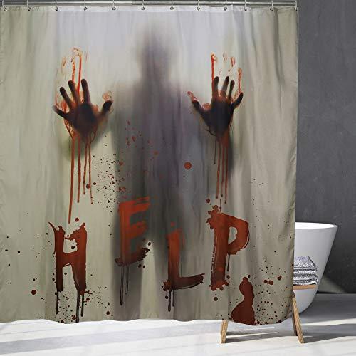 Halloween Duschvorhang, helfen Sie Mir, suchen Hilfe mit blutigen Händen, Halloween Dekorationen für Badezimmer.70x70Zoll