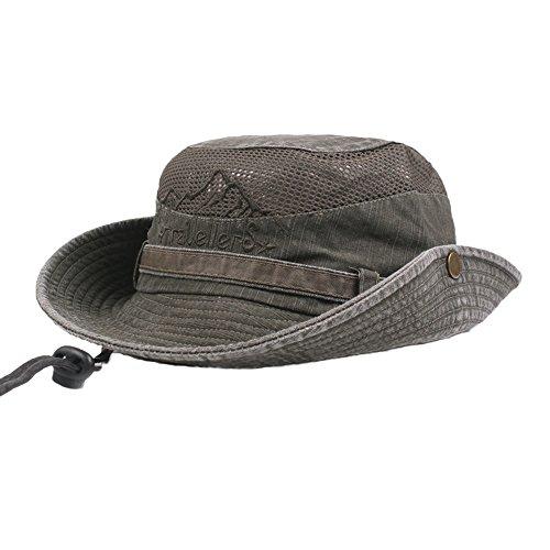 FENSIN Unisex Australischer Buschhut mit breiter Krempe, Kinnriemen, seitlichen Druckknöpfen und Lüftungsschlitzen, aus Baumwolle