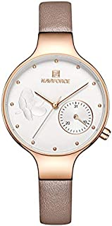 Naviforce Women's White Dial Genuine Leather Analog Watch - NF5001-RGWPG
