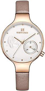 ساعة انالوج بمينا ابيض وجلد اصلي للنساء من نافي فورس - NF5001-RGWPG