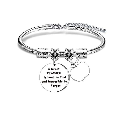 YONGHUI Teacher Charm Adjustable Snake Bracelet Women Bangle Bracelets Jewellery Teacher's Day Graduation Gifts A Great Teacher Is Hard To Find And Impossible To Forget (Style A)