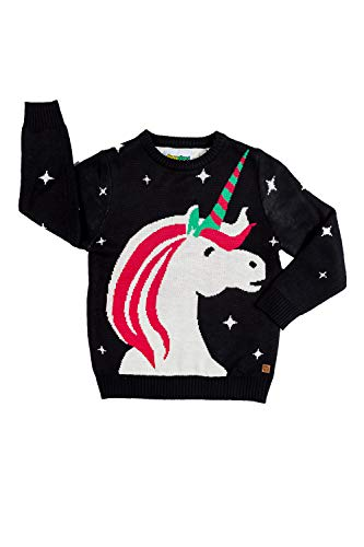 Tipsy Elves Toddler Ugly Christmas Sweaters - Funny Cute Black Unicorn Pullover Size 4T