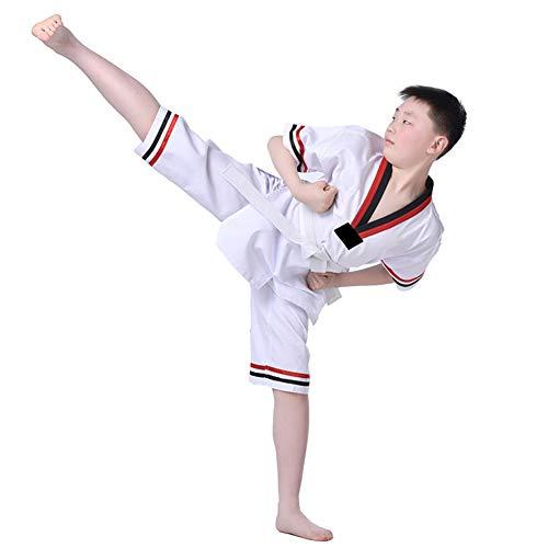 Meijunter Taekwondo Uniform für Erwachsene Kinder - Karate Anzug Kampfsport Bekleidung Taekwondoanzug mit Weißem Gürtel Weiß 150
