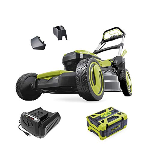 Sun Joe ION100V-21LM 21-Inch Cordless Self Propelled Lawn Mower, Kit (w/ 5.0-Ah Battery + Rapid...