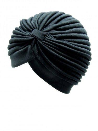 Taille unique adulte Noir Bonnet plissé avec pochette design à l'avant.
