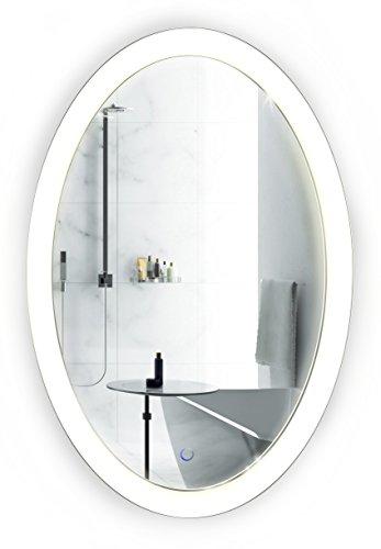 Krugg Oval LED Bathroom Mirror 20 Inch x 30 Inch | Lighted -