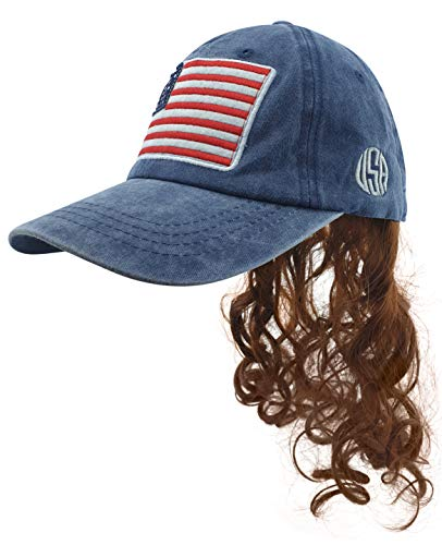 USA Mullet Hat with Attached Brown Hair Wig for an All American Billy Bob Costume Quality Wigs