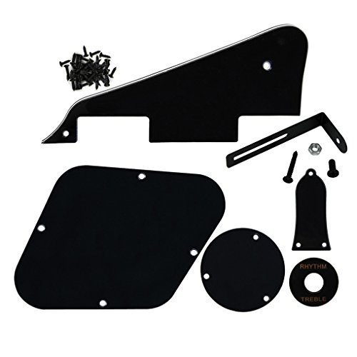 FLEOR 3Ply Black Pickguard Back Plate Screws Set & Switch Ring & Truss Rod Cover Plate & Black Bracket Fit Gibson Les Paul Pickguard Replacement