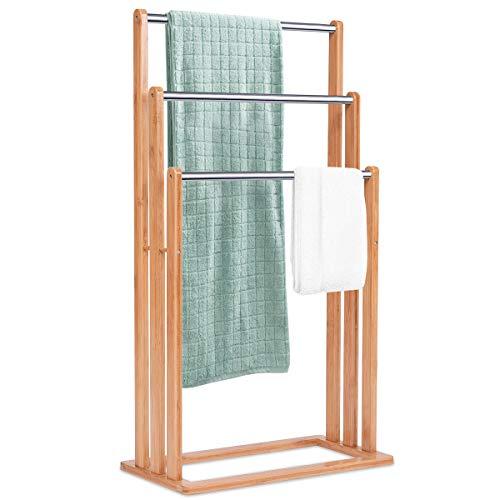 COSTWAY Handtuchständer Bad, Badehandtuchständer freistehend, Handtuchhalter Badetuchhalter Badehandtuchhalter mit 3 Handtuchstangen, Standhandtuchhalter aus Bambus + Edelstahl