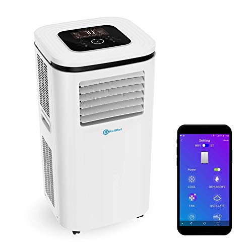 Rollibot ROLLICOOL Portable Air Conditioner w/App & Alexa Voice Control | Wi-Fi Enabled Portable AC & Dehumidifier | Quiet Operation, Easy Installation (12,000 BTU, White) (Renewed)