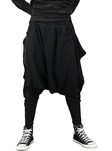 ellazhu Men Fashion Drop Crotch Loose Casual Yoga Harem Long Pants GYM161 Black