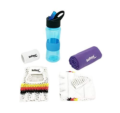 Pack » Guantes Gimnasio + Botella de Agua + Toalla Gimnasio + Muñequera de Algodón (Toalla Violeta y Botella Gym Azul, M)