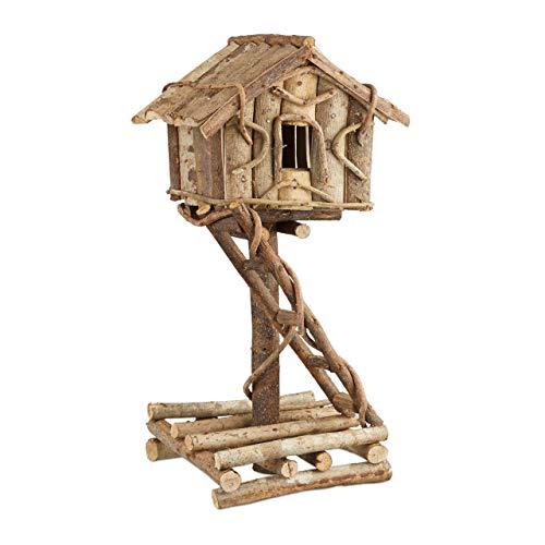 Relaxdays Vogelhaus stehend, unbehandeltes Deko Vogelhäuschen auf Ständer, handgemachtes Holzhaus mit Leiter, natur