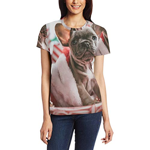 Short Sleeve Picture Brindle French Bulldog Puppy T-Shirt Round Neck Easy to Clean Women