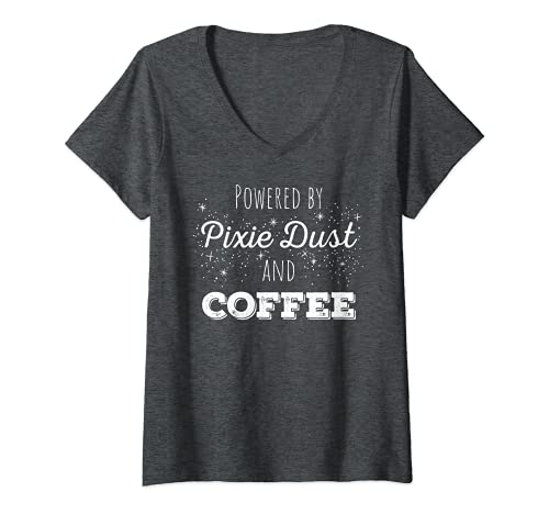 Mujer Powered by Pixie Dust and Coffee Shirt regalo para amantes del café Camiseta Cuello V