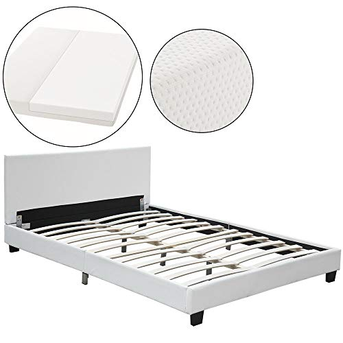 ArtLife Polsterbett Barcelona 140 x 200 cm mit Matratze – Bett inkl. Lattenrost & Kopfteil – Holzgestell & Kunstleder – weiß – Jugendbett