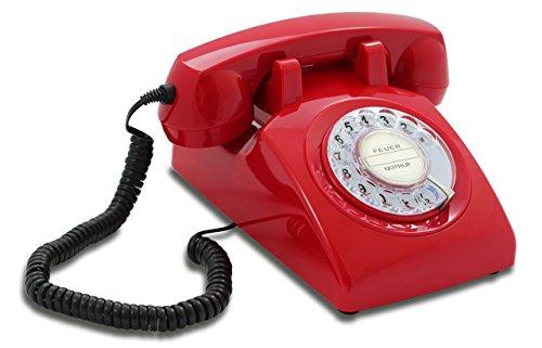 Opis 60s Cable mit klassischem Deutsche Post Pappeinleger: Retro Telefon im sechziger Jahre Vintage Design mit Wählscheibe und Metallklingel (rot)