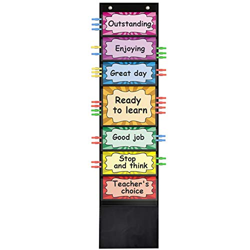 ZKOO Behavior Clip Chart for Classroom Management - Track and Reward Good Behavior for School, Office,Preschool, Child Care or Homeschool