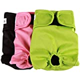 Vecomfy Dog Diapers Female for Small Dogs 3 Pack,Premium Washable Reusable Leakproof New Born Puppy Nappies,S