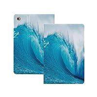 iPad Pro 12.9 ケース 2020(A2229 A2069 A2232 A2233) オーシャンインテリア、波状の海の冒険サーフィンエクストリームウォータースポーツ夏休み先の写真、アクアホワイト オーシャンインテリア オートスリープ/ウェイク 軽量 イッピー りスマートケース iPad Pro 12.9インチ 2020用ハード背面カバー アクアホワイト