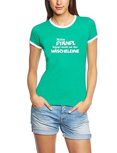 Mein Dirndl hängt noch an der Wäscheleine ! Damen Ringer Oktoberfest Wiesn T-Shirt Green_RIGI Ringer Gr.L