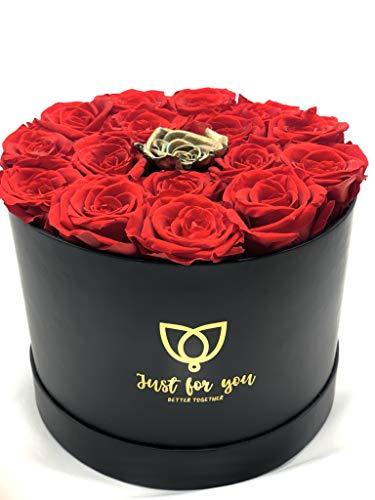 17 Rosas Rojas preservadas en Caja Regalo Bombonera - Rosas eternas San Valentín - Flores preservadas a Domicilio (16 Rosas Rojas + 1 Rosa Dorada)