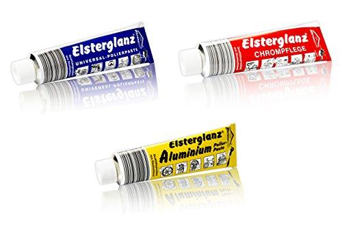 hs24store Elsterglanz 3er Set 150ml XXL Tube Chrom,Universal,Aluminium Politur, Paste