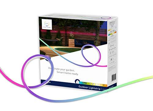 tint von Müller-Licht Smarter LED-Strip Outdoor, white-color (Weißtöne und farbiges Licht) für indirekte Beleuchtung, 36 W, dimmbar, Zigbee, 5 m Länge, Kompatibel mit Alexa