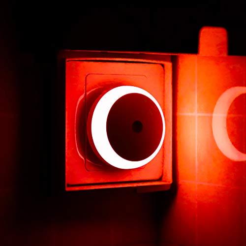 LED Steckdose Nachtlicht, Dämmerungssensor, Rot Licht, Automatisches Nachtlicht, Energieeffizienz, Rund, 2er Pack