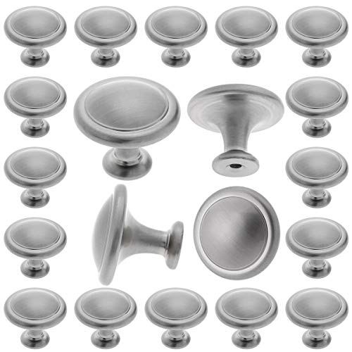 25 Pack Brushed Satin Nickel Cabinet Knobs - Round Drawer Pulls for Kitchen Cabinets - Refresh Dresser Handle and Cupboard Door - Home Improvement and Remodeling - 1-1/4 inch (32mm) Diameter knob