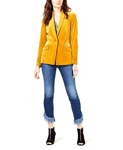 INC Womens Velvet Single Vent One-Button Blazer Yellow L