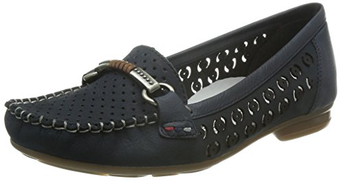Rieker Damen SlipperMokassins 40085, Frauen Slipper, Women's Woman Freizeit leger schlüpfschuh Slip-on modisch,Pazifik/Lake/nuss / 14,40 EU / 6.5 UK