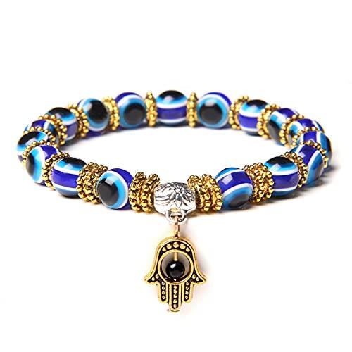 YITIANTIAN Hamsa Charm Pulseras Hombres Budismo Doigts De Fatima Blue Evil Eye Beads Brazalete Mujeres Amuleto Lava Piedra Pulsera Joyería Hecha a Mano