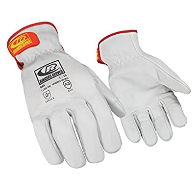 Ringers 664-08 R-Hide Classic ANSI Level-3 Cut-Resistance Leather Gloves, White, Small