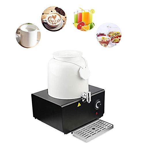 Dispensador de agua caliente de cerámica con espita y base de acero inoxidable, calentador de leche de 10 l, calentador de leche para fiestas y bufé, jarra de café para mantener caliente, color blanco