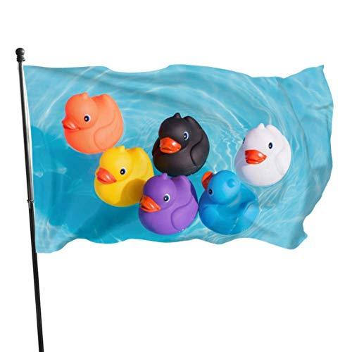Bandera de jardín Diferencia de patos de goma Manejar alineaciones Color vivo y resistente a la decoloración UV Bandera de patio con doble costura Bandera de temporada Bandera de pared 150X90cm