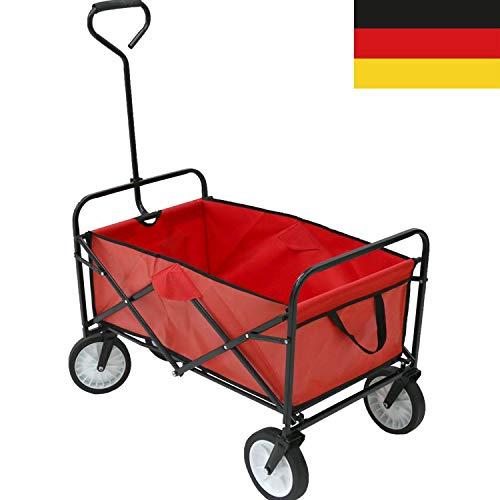 Autofather Bollerwagen Faltbarer Handwagen Gerätenwagen Strandwagen Gartenwagen Gartenanhänger Transportwagen Vollgummireifen,alle Gelände geeignet, Einfache Bedienung