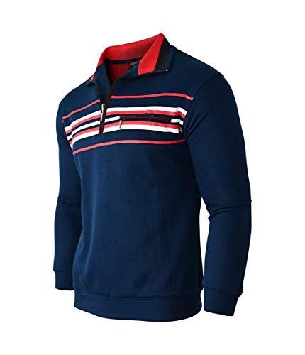 Soltice Sudadera, polo, jersey de manga larga para hombre, de invierno, de punto, de mezcla de algodón (desde M hasta 3XL) [B] Azul marino M