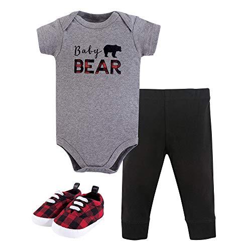 Little Treasure Baby Boy Short Sleeve Bodysuit, Pant & Shoes 3pc Outfit Set