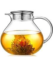 ecooe Szklany dzbanek do herbaty 1400 ml ze zdejmowanym zaparzaczem ze stali nierdzewnej 18/10 żaroodporny szklany dzbanek na herbatę do herbaty na owoce pachnącą herbatę i kwitnącą kuchenkę do herbaty bezpieczny