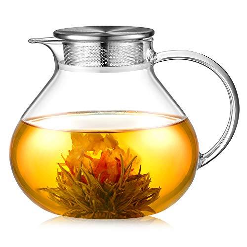 ecooe 1400ml Einfach Glas Teekanne mit 18/8 Edelstahl 2 in 1 Teesieb Deckel Borosilicate Glas Teebereiter Geeignet für Kalte und Heiße Getränke Offenem Feuer Herd Teewarmer