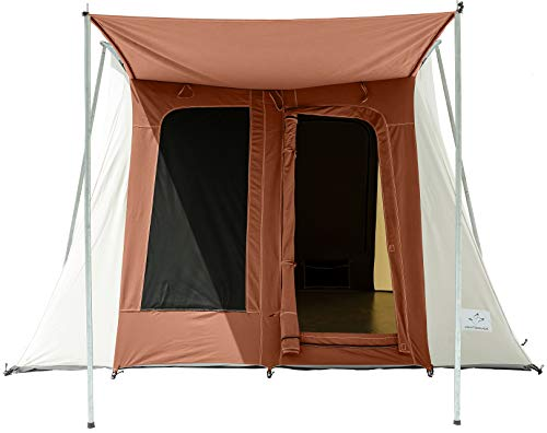 WHITEDUCK PROTA Canvas Cabin Tent – Waterproof, Four Season Outdoor Camping Tent Made from Premium 100% Cotton Canvas w/Reflective Sunblock Roof, Mesh & Extra-Wide Doors… (10' x 10' Brown)