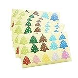 Pegatinas de Navidad Adorno de Navidad 200pcs / lot regalo colorido de la estrella del árbol de navidad de sellado engomada de papel for hornear bricolaje decoración de empaquetado etiqueta Para favor