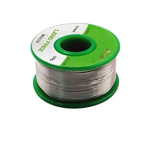 JZK 100g 0.6 mm, 99Sn 0.3Ag 0.7Cu, senza piombo, con flussante, rotolo rocchetto filo stagno per microsaldature saldature saldare saldatura, 99% Stagno, 0.3% argento, 0.7% rame