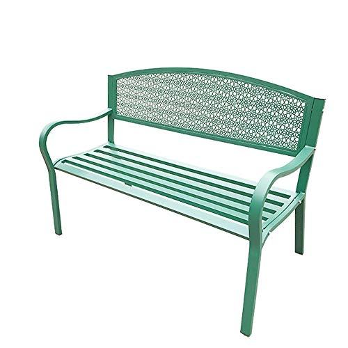 Banco de jardín para terraza, banco de hierro forjado para exteriores, banco de parque con respaldo de malla y cómodos apoyabrazos, sillón reclinable de jardín de 2-3 plazas, sillón para exteriores