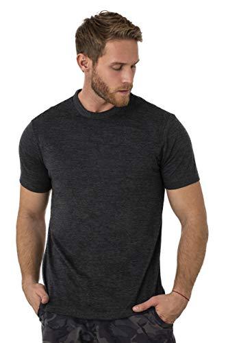 Merino.tech 100% Organic Merino Wool Lightweight Men's T-Shirt (Heathered Black, Medium)
