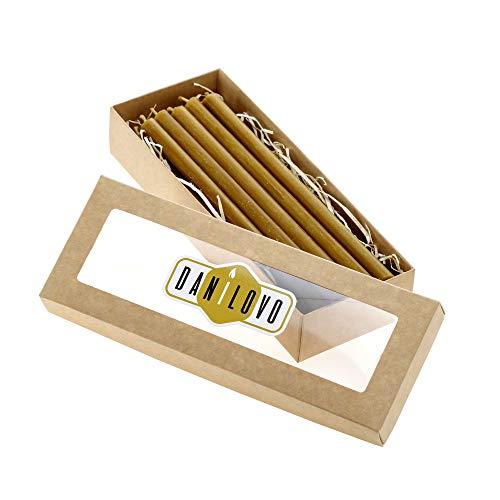 Danilovo 10 Stück Bienenwachskerzen. Traditionell, Festlich, Tisch Kerzen. Höhe 20,5 cm, Ø 1,2 cm - 10 Stück. Einwandfreies Brennverhalten - Altarkerzen, Leuchterkerzen (Gelb)