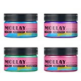 MOLLAY Wash Out Temporary Hair Color Wax Purple Pink Blue Green 4 in One Set Vegan, Cruelty-free
