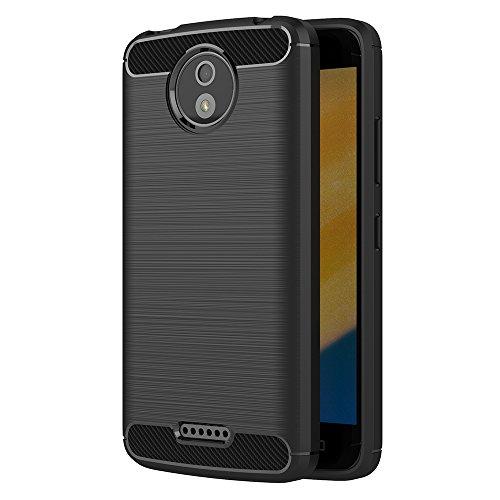 AICEK Moto C Plus Hülle, Schwarz Silikon Handyhülle für Motorola Moto C Plus Schutzhülle Karbon Optik Soft Hülle (5,0 Zoll)