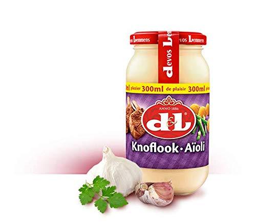 Devos & Lemmens - Knoblauch (Knoflook aioli) - 300 ml Flasche x 1 - Cremige Sauce - Perfekt für Fondue, BBQ, Lamm, Fisch und andere Meeresfrüchte - Recycelbarer Behälter